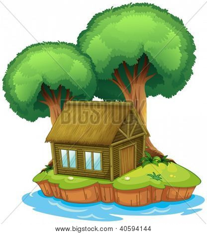 Illustration of a house and a tree on an island on a white background