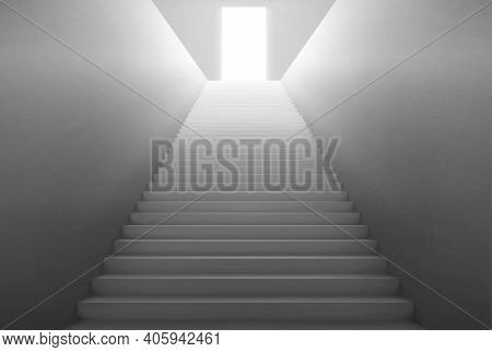 Empty Staircase With Light From Open Door On Top. Vector Realistic Interior With Stair With White St