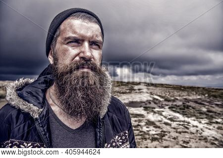 Bearded Man. Beard. Wanderlust And Hiking. Travel And Adventure. Hipster With Thoughtful Face At Mou
