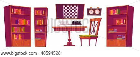 Chess Club Interior With Board, Pieces And Clock. Vector Cartoon Set Of Furniture For Playing Chess,