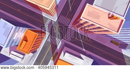 City Top View With Buildings And Car Road Intersection With Pedestrian Crosswalk. Vector Cartoon Ill