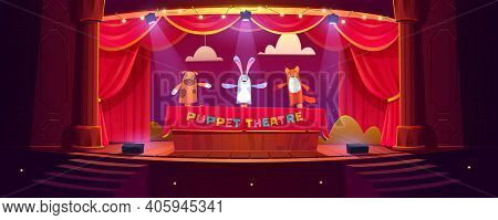 Puppet Theater On Stage, Funny Dolls Perform Show For Children On Scene With Red Curtains, Stairs An