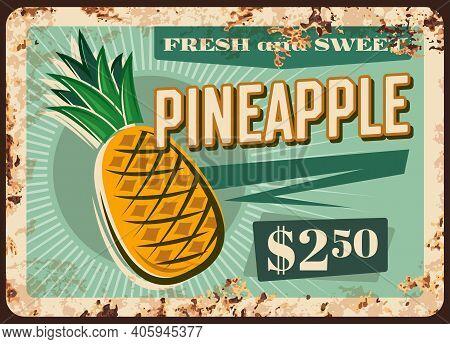 Pineapple Rusty Metal Plate, Vector Fresh Tropical Fruit Supply Vintage Rust Tin Sign, Ferruginous P