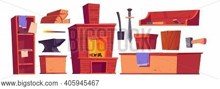 Forge Or Blacksmith Stuff And Furniture, Burning Oven, Sword, Anvil, Scoop And Hammer With Wood Logs