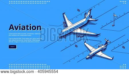 Aviation Banner. Isometric White Planes On Runway In Airport On Blue Background. Vector Landing Page