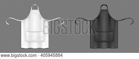 Chef Aprons, Black And White Cook Uniform 3d Vector Mockup. Kitchen Or Bakery Staff Bibs Or Pinafore