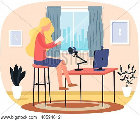 Young Girl Blogger Live Streaming. Cute Female Making Video Content To Vlog Sitting With Laptop And