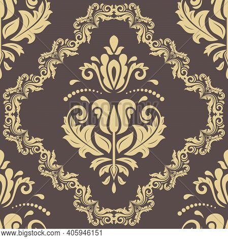 Orient Classic Brown And Golden Pattern. Seamless Abstract Background With Vintage Elements. Orient