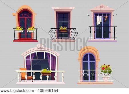 Vintage Balconies With Glass Doors, Windows, Flowers In Pots And Fences. Vector Cartoon Set Of Balco