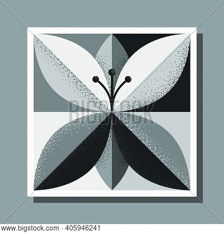 Stylized Black And White Flower On Square Check Background With Stippled Shading
