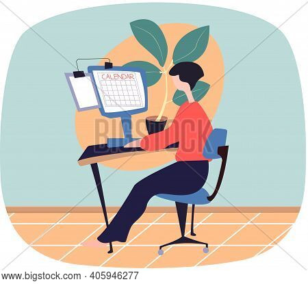 Businesswoman Sitting At Table With Laptop, Planning With Calendar, Draws Up Work Schedule Or Busine