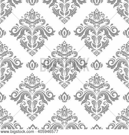Classic Seamless Pattern. Damask Orient Grey Ornament. Classic Vintage Background. Orient Ornament F