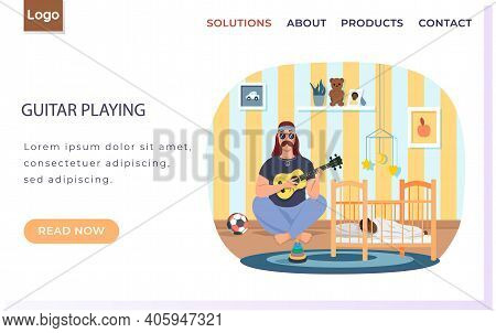 Male Bard Playing Guitar Vector Illustration. Daddy With Ukulele Sings Songs To Child At Night. Fath