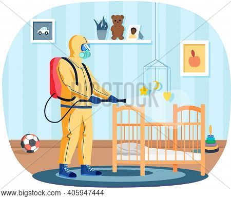 Man In Protective Suit Disinfects Children Room With Spray Gun. Prevention Against Disease. Premises