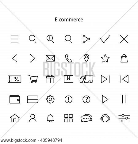 Simple Set Of Line Icons. Contains Such Icons As Business, Marketing, Shopping, Banking, E-commerce,