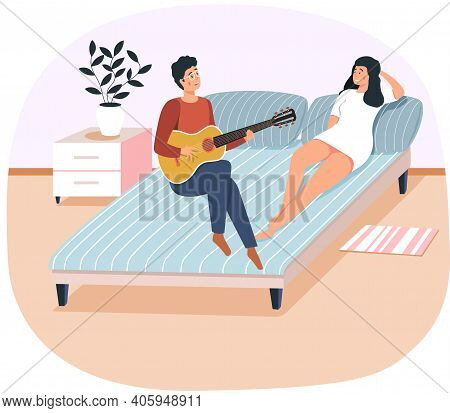 Couple Playing Musical Instrument. People Singing Together. Cartoon Character Creates Music. Musicia
