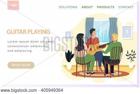 Man Sings Song To Audience. People Enjoy Time With Acoustic Guitar And Listen To Live Music At Home.