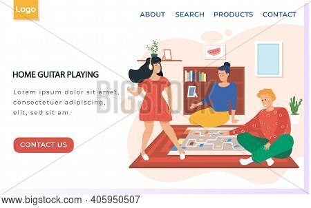 Web Site With Home Guitar Playing. Girl With Headphones Listens To Music. Friends Playing Board Game