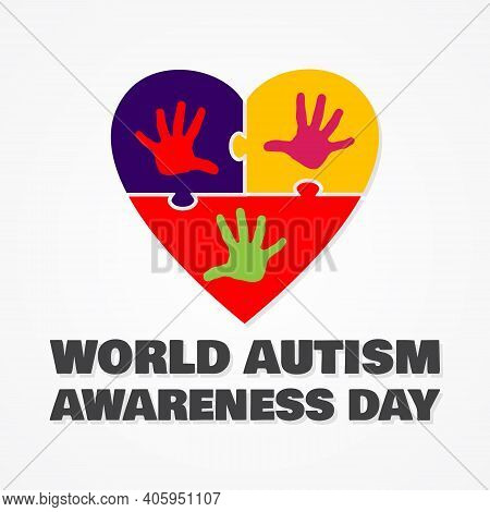 Colorful Design Word World Autism Awareness Day With Love Puzzle Symbol. World Autism Awareness Day
