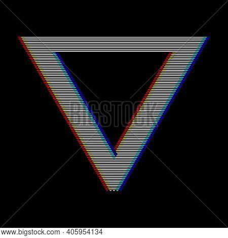 Vhs Glitch Triangle In Retro Style. Geometry Shape With Distortion Effect. Good For Design Promo Ele