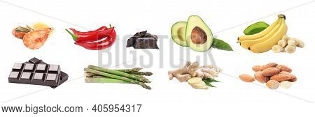 Set With Different Aphrodisiac Food For Increasing Sexual Desire On White Background, Banner Design