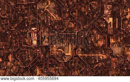 Cyberpunk or steampunk circuit board background. 3D illustration