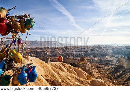 Cappadocia, Turkey - December 20, 2019: Ethnic Things And Toys And View From Top Place On The Strang