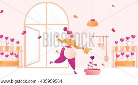 Young Woman Plants Hearts For Better Feedback And Social Support. Concept Illustration Of Farmer Wit