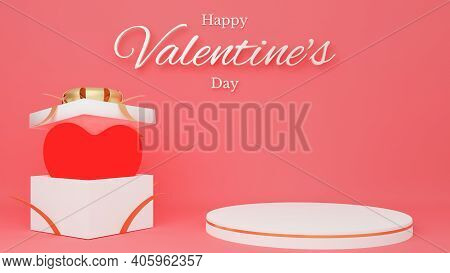 Red Heart In Open White Gift Box With Red Ribbon With Circle Podium And Text. Valentine's Day Concep