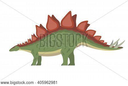 Stegosaurus Dinosaur. Vector Illustration Of A Prehistoric Dinosaur Stegosaurus Isolated On A White