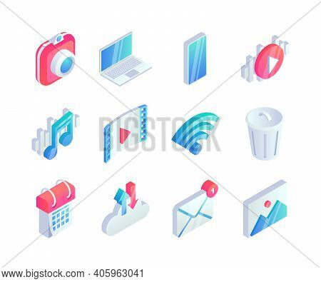 Isometric Multimedia Icons Set. 3d Vector Audio Video Concept Symbols With Photo Camera, Laptop, Pho