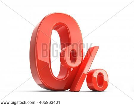Glossy red zero percent sign isolated on white. Percentage, no commission, discount concept. 3d rendering