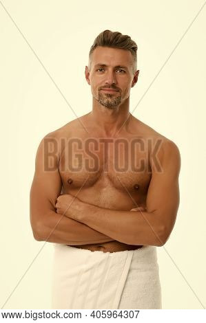 Purest Hygiene Soap. Athletic Man Wrapped In Bath Towel. Sexy Guy With Fit Torso Isolated On White.