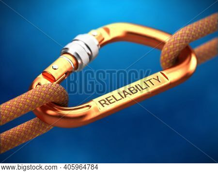 Reliability word on steel spring hook carabine with ropes. Reliability concept - 3d rendering
