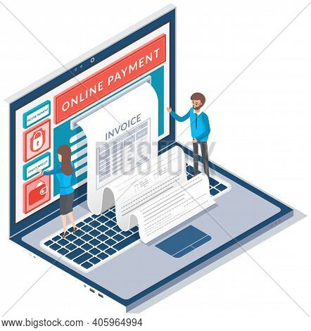 Electronic Bill And Online Bank, Opened Laptop With Check Tape. Payment By Means Of Payments Electro