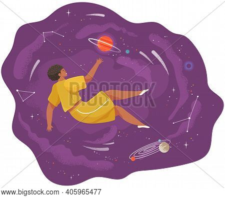 A Woman Flying In Space Vector Flat Illustration With Planets And Stars Cartoon Cosmic Scene. Female