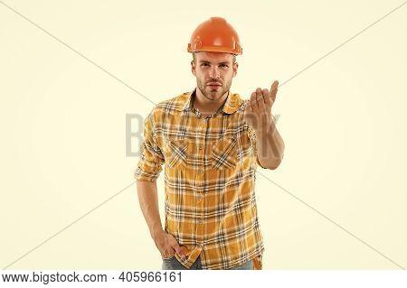 Bully Foreman. Control And Management. Man Shouting. Man Builder Hard Hat. Handyman At Workshop. Ang