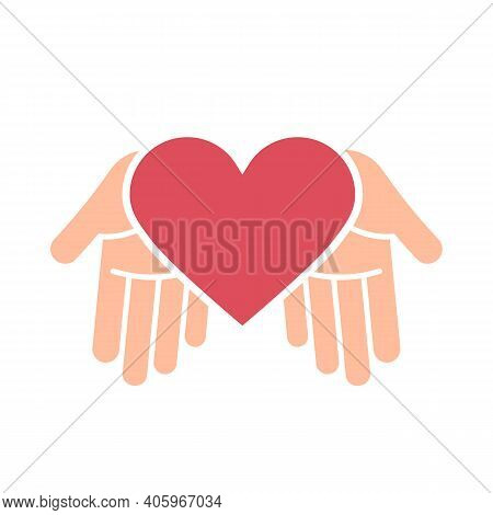 Two Hand With Heart Icon. Vector Illustration.