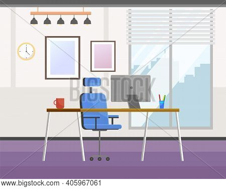Workplace Of The Office Worker. The Table And Chair Are In The Office. Organization Of The Interior