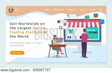Landing Page Of Website. Sell Worldwide On Largest Online Trading Platform In World. Online Shop. Se