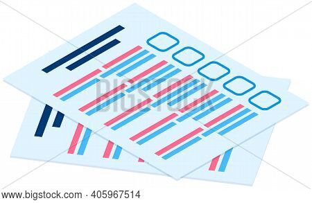 Stack Of Blank Survey Checklist Sheets. Education Test, Questionnaire, Document Flat Vector Illustra