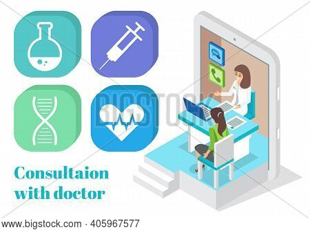 Isometric Tablet. Online Consultation Doctor With Patient Woman. Medical App, Virtual Help At Distan