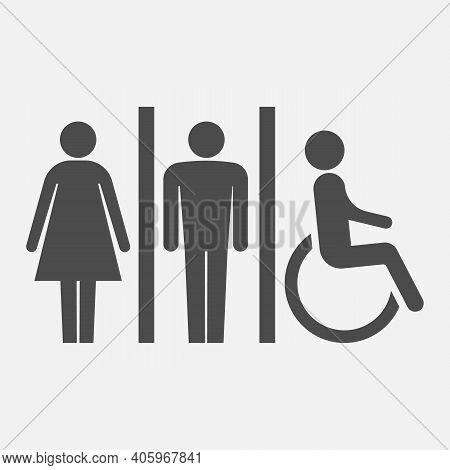 Toilet Icons. Man, Woman, Handicap.restroom, Bathroom In A Public Area, Navigation Vector Illustrati