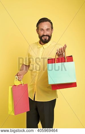 Special Offer. Bearded Man Shopping Bags Seasonal Sale. Hipster Buying Sale Price. Black Friday. Cyb
