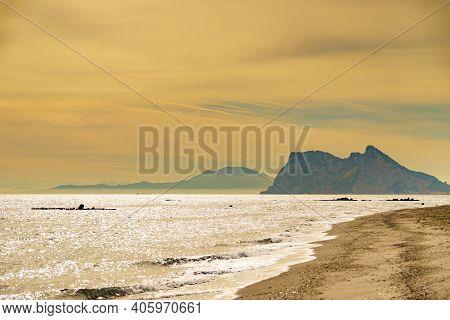 Gibraltar Rock, British Overseas Territory On Spanish Coast. View From Torrecarbonera Beach, Punta M