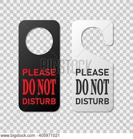 Do Not Disturb Door Hanger Signs Isolated Message For Peace. Empty Label Hanger On Hotel Room Door I