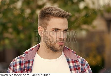 Make Hair Look It Best. Man With Stylish Hair Summer Outdoor. Unshaven Guy With Stubble Hair. Hair S