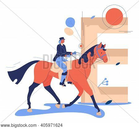 Equestrian Sport Concept Illustration With Woman Jockey Riding Horse. Capital Letter E On Background