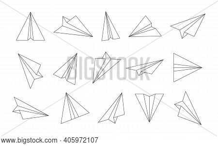 Paper Plane. Outline Airplane Icons. Sketch Origami Planes For Travel, Fly And Mail. Doodle Of Airpl