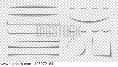 Divider Shadow Lines. Divider Of Paper With Shadows. Box For Web Page. Banner With Frame On Transpar